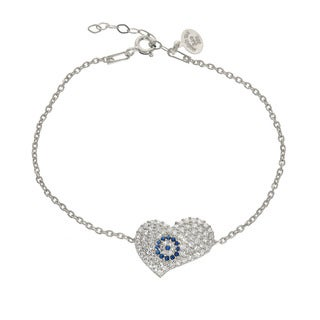 Eternally Haute Solid Sterling Silver Pave Evil Eye Heart Bracelet