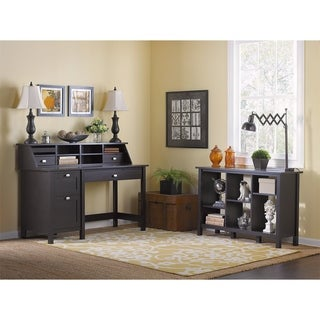 Broadview Espresso Oak Computer Desk with Pedestal, Bookcase and Organizer