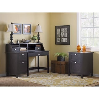 Broadview Espresso Oak Computer Desk with Pedestal, Organizer and File Cabinet