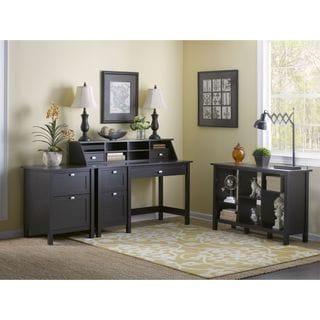 Broadview Espresso Oak Computer Desk with Pedestal, Organizer, Bookcase and File Cabinet