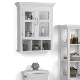 WYNDENHALL Hayes Two Door Bathroom Wall Cabinet with Cubbies in White   Option  White. White Bathroom Furniture For Less   Overstock com