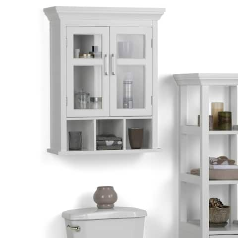 WYNDENHALL Hayes 30 inch H x 23.6 inch W Two Door Wall Bath Cabinet with Cubbies