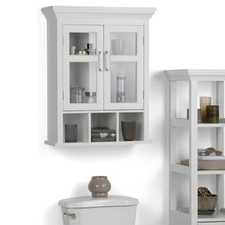 WyndenHall Hayes White Two-Door Bathroom Wall Cabinet with Cubbies