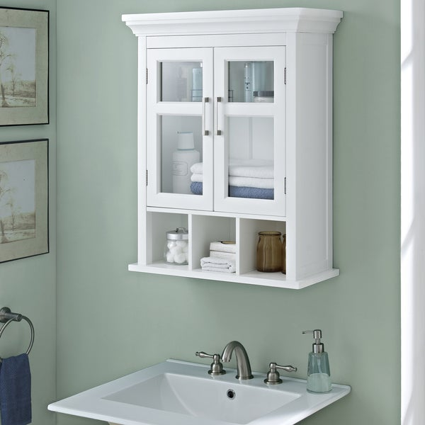 Bathroom Wall Cabinets wyndenhall hayes two door bathroom wall cabinet with cubbies in
