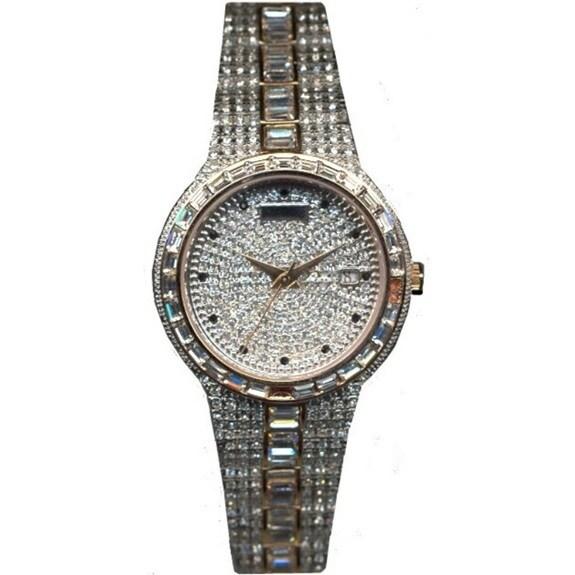 Croton Men's Stainless Steel Two-tone Baguette Bezel Watch - Silver