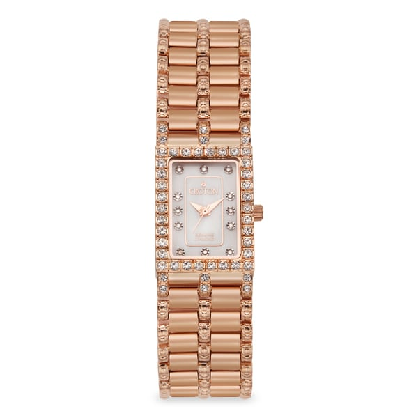 Croton Women's Stainless Steel Rosetone Mother of Pearl Watch