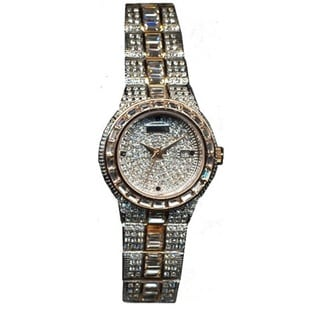 Croton Women's CN207540TTPV Stainless Steel Two-tone Baguette Bezel Watch