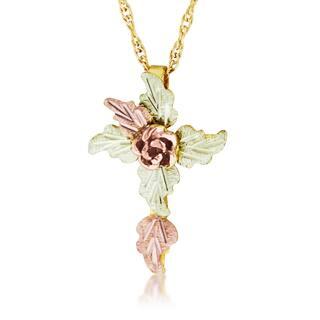 Black Hills Gold Rose Cross Pendant|https://ak1.ostkcdn.com/images/products/10700491/P17761353.jpg?impolicy=medium