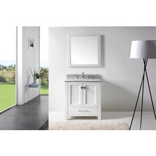 Eviva Aberdeen 30 Transitional White Bathroom Vanity with White Carrera Countertop
