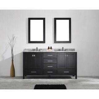 Eviva Aberdeen 72 Transitional Espresso Bathroom Vanity with White Carrera Countertop