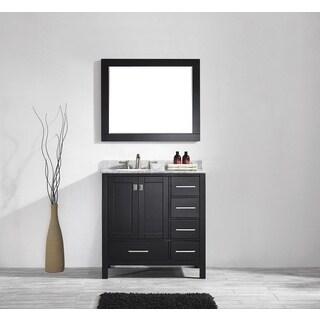 Eviva Aberdeen 36 Transitional Espresso Bathroom Vanity with White Carrera Countertop
