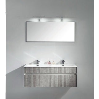 "Eviva Ashy 48"" Wall Mount Modern Bathroom Vanity Set High Gloss Ash Gray (Grey) with White Integrated double Sink"