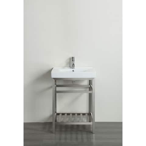 "Eviva Stone 24"" Stainless Steel Bathroom Vanity w/ White Integrated Top"