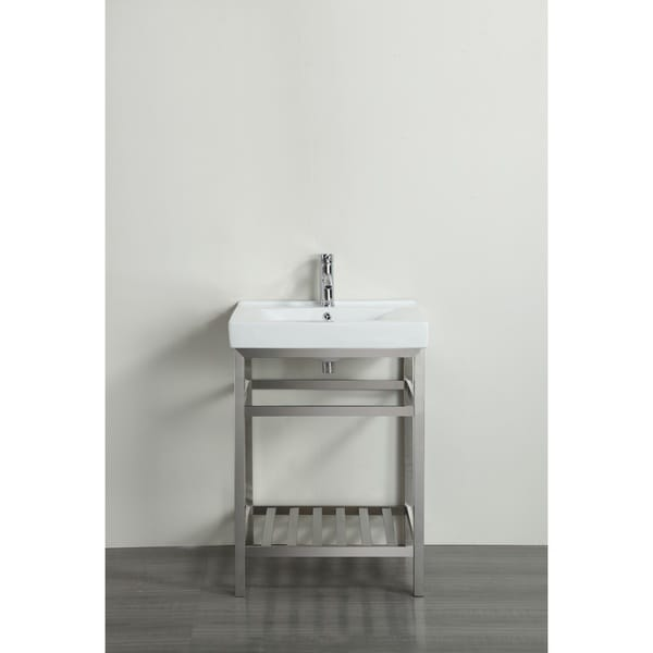 Eviva stone 24 inch bathroom vanity stainless steel with white integrated porcelain top free Stainless steel bathroom vanities