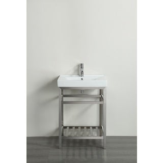 Eviva Stone 24-inch Bathroom Vanity Stainless Steel with White Integrated Porcelain Top