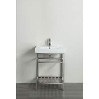 Eviva Stone 24 Inch Bathroom Vanity Stainless Steel With White Integrated Porcelain Top