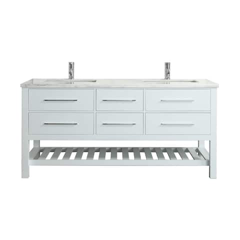 Eviva Natalie 60 inch White Freestanding Double Sink Vanity with White Carrara Countertop and Undermount Porcelain Sinks