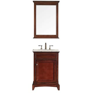 "Eviva Elite Stamford® 24"" Brown Bathroom Vanity Set with Double OG Crema Marfil Marble Top & White Undermount Porcelain Sink"