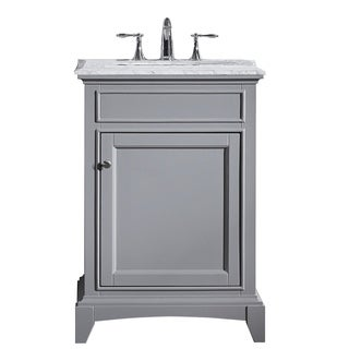"Eviva Elite Stamford® 24"" Gray Bathroom Vanity Set with Double OG White Carrera Marble Top & White Undermount Porcelain Sink"