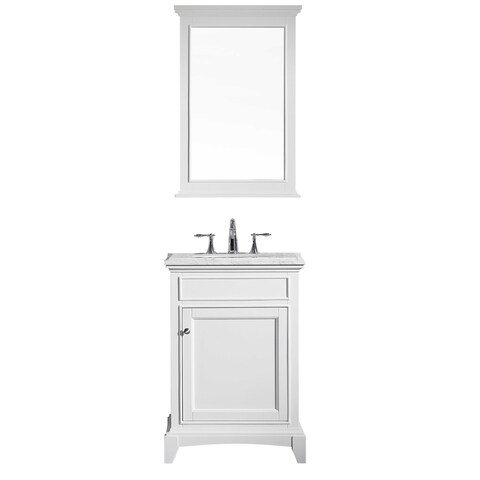 "Eviva Elite Stamford® 24"" White Bathroom Vanity Set with Double OG White Carrera Marble Top & White Undermount Porcelain Sink"