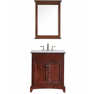 "Eviva Elite Stamford® 30"" Brown Bathroom Vanity Set with Double OG Crema Marfil Marble Top & White Undermount Porcelain Sink"