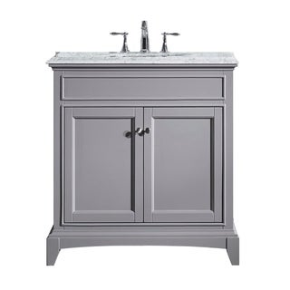 Eviva Elite Stamford® Grey Bathroom Vanity Set with Double OG White Carrera Marble Top and White Undermount Porcelain Sink