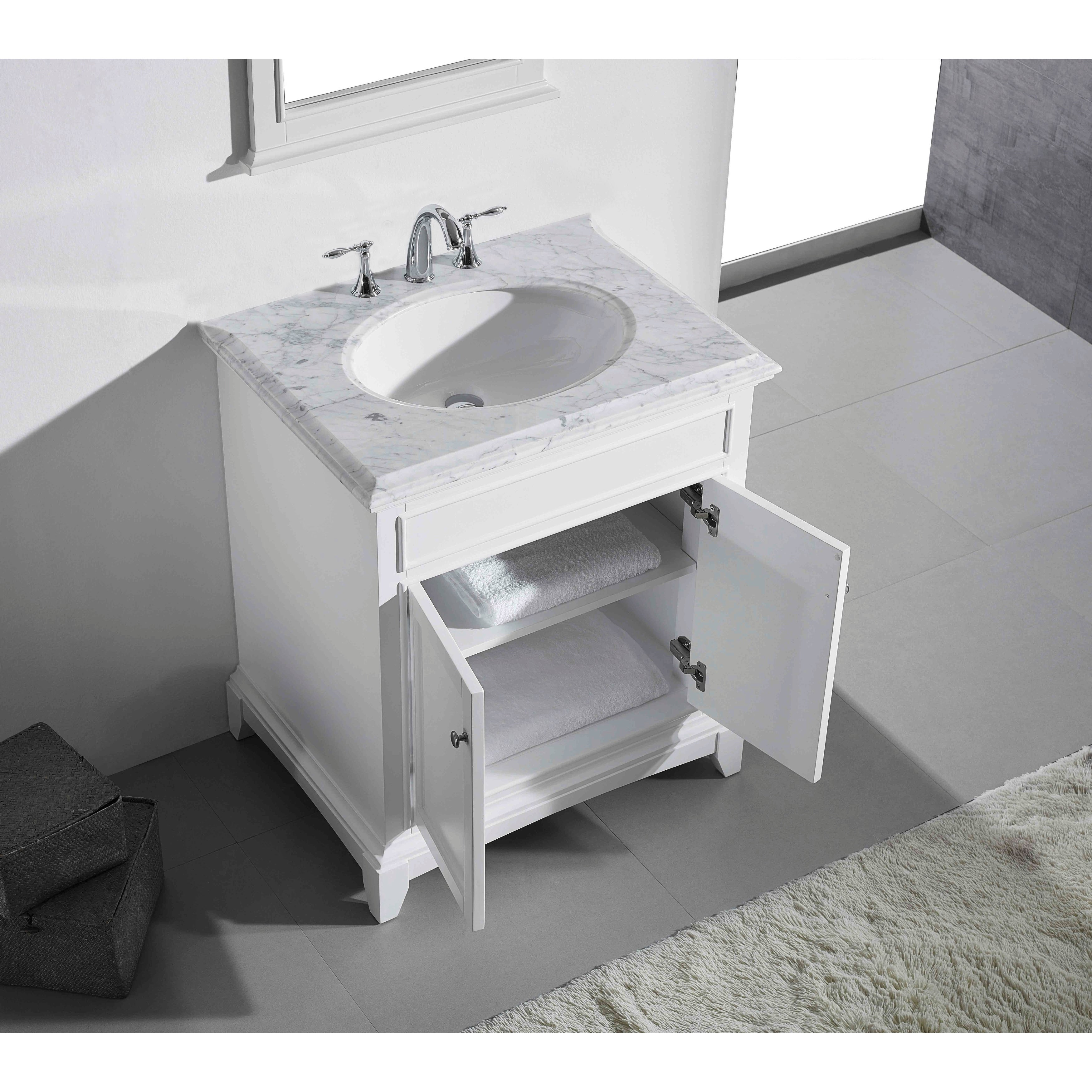 "Eviva Elite Stamford® 30"" White Bathroom Vanity Set with ..."