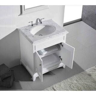 "Eviva Elite Stamford® 30"" White Bathroom Vanity Set with Double OG White Carrera Marble Top & White Undermount Porcelain Sink"