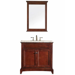 Eviva Elite Stamford® Brown Bathroom Vanity Set with Double OG Crema Marfil Marble Top and White Undermount Porcelain Sink