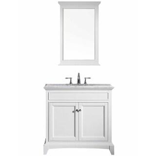 "Eviva Elite Stamford® 36"" White Bathroom Vanity Set with Double OG White Carrera Marble Top & White Undermount Porcelain Sink"