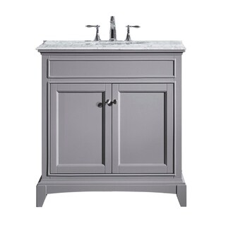 "Eviva Elite Stamford® 36"" Gray Bathroom Vanity Set with Double OG White Carrera Marble Top & White Undermount Porcelain Sink"