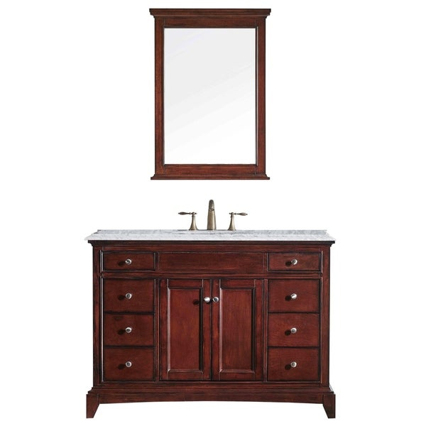 "Eviva Elite Stamford® 48"" Brown Bathroom Vanity Set with Double OG Crema Marfil Marble Top & White Undermount Porcelain Sink"