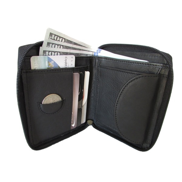 Continental Leather Bifold Men's Bifold Tall Wallet Zipper Around and Interior Coin Pocket - M