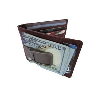 Continental Leather Executive Money Clip Front Pocket Bifold Wallet With Metal Clip - S
