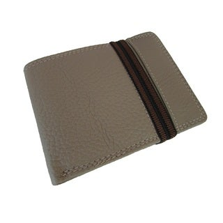Continental Leather Men's Bifold Wallet Elastic Band Around and Removable Card Case