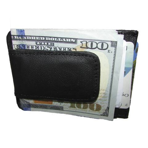 Continental Leather Executive Money Clip Front Pocket Bifold Wallet