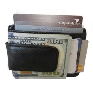 Link to Continental Leather Black Leather Executive Money Clip Front Pocket Bifold Wallet with Multiple Credit Card Slots Similar Items in Wallets