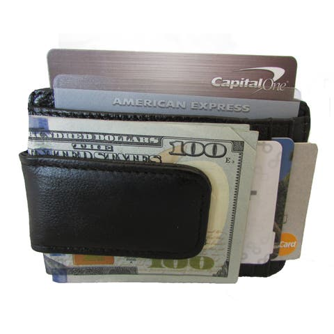 3db66453990 Continental Leather Black Leather Executive Money Clip Front Pocket Bifold  Wallet with Multiple Credit Card Slots