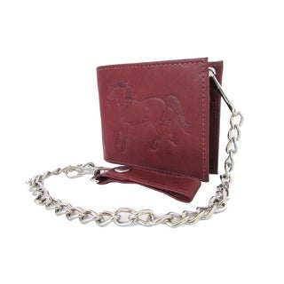 Continental Leather Men's Steel Chain Horse Embossed Bifold Wallet