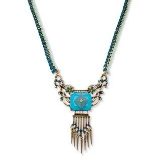 PalmBeach Antiqued Goldtone Teal and Aurora Borealis Crystal Curb-Link Tassel Necklace Bold Fashion