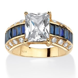 14k Gold Over Sterling Silver 7ct Emerald-cut Cubic Zirconia and Sapphire Ring Glam CZ