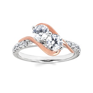 10k Two-tone Gold 1ct TDW Two-stone Diamond Ring (H-I, I1-I2)