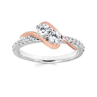 Boston Bay Diamonds 10k White and Rose Gold 1/2ct TDW Diamond Two Stone Ring