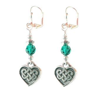 Palmtree Gems 'Kylee' Silver Celtic Heart Dangle Earrings