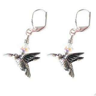 Palmtree Gems 'Silver Hummingbird' Dangle Earrings