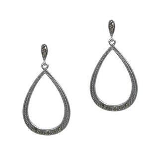 Queenberry Sterling Silver Marcasite Teardrop Dangle Earrings