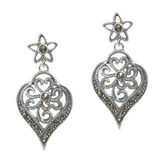 Queenberry Sterling Silver Marcasite Filigree Flower Dangle Earrings