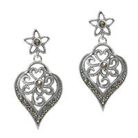 Queenberry Sterling Silver Marcasite Filigree Flower Dangle Earrings