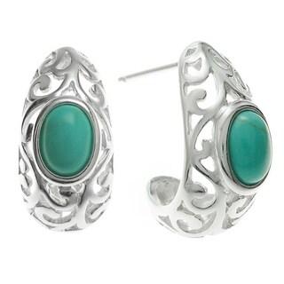 Queenberry Sterling Silver Turquoise Bali Filigree Half Hoop Earrings