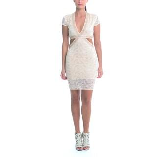 Sentimental NY Women's Champagne Lace V-Neck Cutout Knee Dress